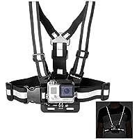 Fantaseal Fascia toracica riflettente cintura di sicurezza Mountain banda per GoPro Eroe 4 / 3+ / 3 / sessione, SJCAM SJ6000 / 5000/4000 per gli sport esterni (nero, formato: S, per Busto 85-90cm)