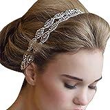 Stofirst Fashion Luxurious Women Girls Handmade Double Row Crystal Rhinestone Headband Headwear Bride Bridal Hairband Headdress Wedding Accessory with Satin Ribbon