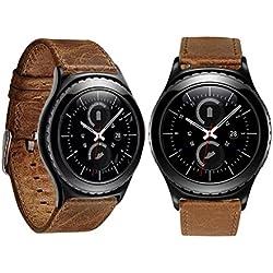 Reloj banda piel, happytop 23mm correa de reloj pulsera correa de muñeca correa de repuesto para Samsung Galaxy Gear S2Classic, color café, Informal