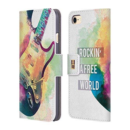 Head Case Designs Boutons De Joueur Tout De Musique Étui Coque De Livre En Cuir Pour Apple iPhone 6 / 6s Guitare Électrique