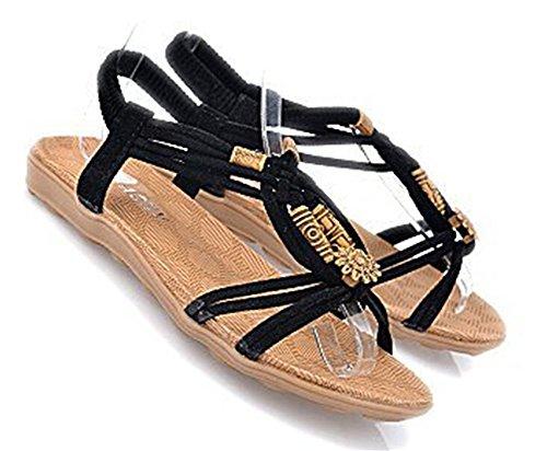 Fortuning's JDS scarpe sandali estivi piatto squisito rilievo causali per le donne Nero