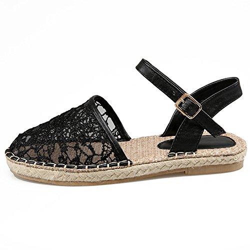 Oasap Women's Lace Cochet Hollow out Flat Sandals white