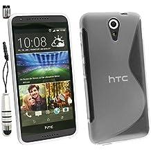 Emartbuy® Lápiz Óptico Paquete para HTC Desire 620 Pellicola Protettiva + Metálico Mini Plata Lápiz Óptico + Ultrafina Ultrafina a Presión TPU Gel Funda Carcasa Case Cover Claro