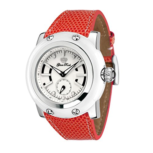 Glam Rock Women's Miami 46mm Red Lizard Leather Band Steel Case Swiss Quartz White Dial Watch GR10074