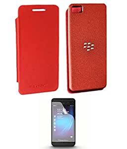 TBZ Flip Back Replace Cover Case for BlackBerry Z10 / BB10 with Screen Guard - Red