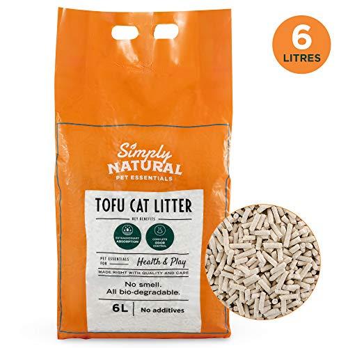 Simply Natural Arena para Gatos de Tofu Arena para Gatos 100% Natural 6 litros Biodegradable Fórmula Libre de Polvo e Inodora