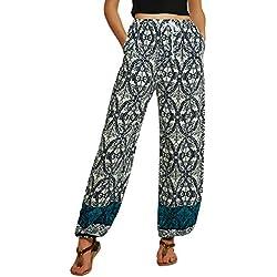 Urban GoCo Mujeres Casual Pantalones Harem Boho de Impreso Cintura de Cordón Pantalón (S, 3)