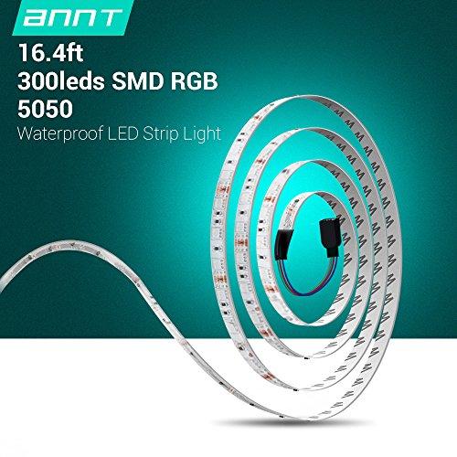 ANNT wasserdicht 5M 5050 RGB LED Strip Licht Lichtschläuche Lichterkette LED Streifen set mit Fernbedienung 44 Tasten,Led RGB Controller mit 12V 5A Netzteil