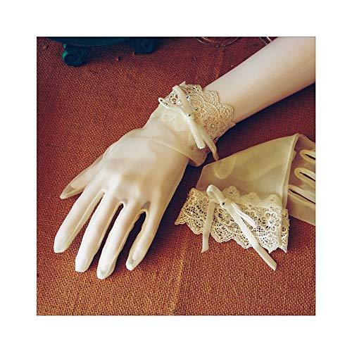 Ywlanlantrading Handschuh Braut Kurze Handschuhe Hochzeit Handschuhe Elegante dünne Abschnitt weiße Spitze Kurze Teeparty Tanzen Handschuhe (Color : White, Size : ()