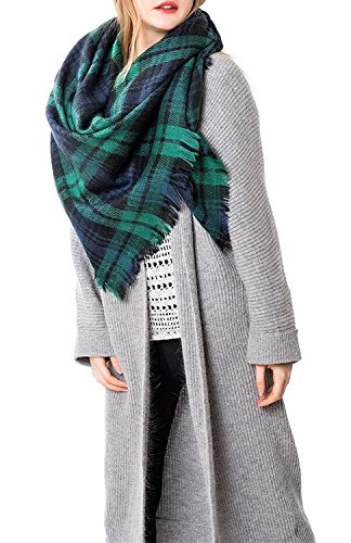 Azue Schal Damen Winter XXL Karoschal Übergroßer Deckenschal Poncho mit Fransen Farbe A05
