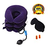 Cervical Neck Traction device – improve spine allineamento ridurre dolore cervicale – Cuscino cervicale con collare regolabile – bonus 3D Eye Mask e tappi per orecchie