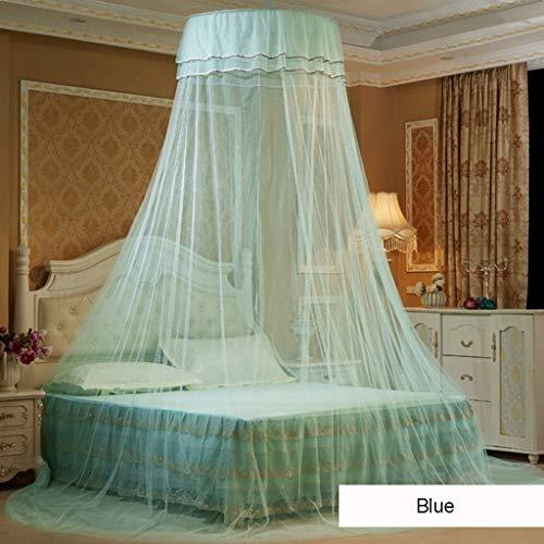 LIN HE SHOP Prinzessin Moskitonetz hängen Runde Lace Baldachin Bett Netting Comfy Student Dome Moskitonetz für Kind Twin Full Queen-Bett, kostenlose Installation Folding (Farbe : Blau, größe : 1.5m) -