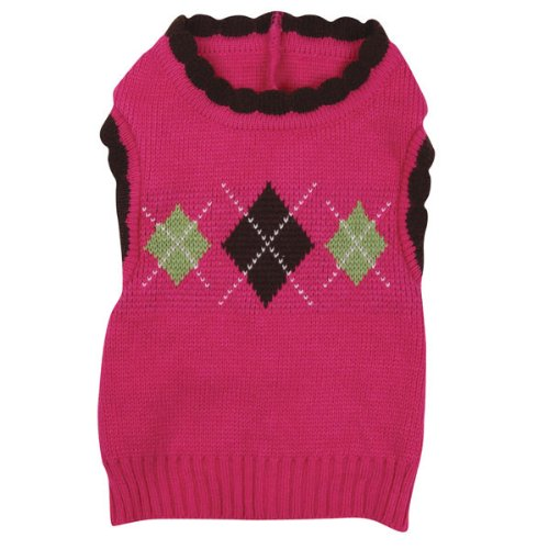 East Side Collection 25,4 cm Acryl Academy Argyle Hund Pullover, X-Small, Raspberry (Pullover East Side Collection)