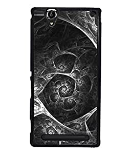Printvisa Designer Back Case Cover for Sony Xperia T2 Ultra :: Sony Xperia T2 Ultra Dual SIM D5322 :: Sony Xperia T2 Ultra XM50h (Silver Diamond Shaped Whirlwind Design)