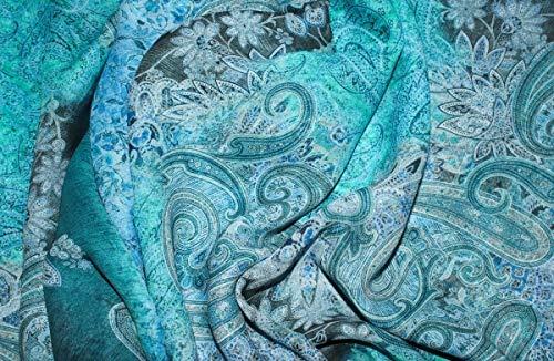 LajaW Viskosedruck Paisley Ocean (10 cm) - Gefüttert Paisley Rock