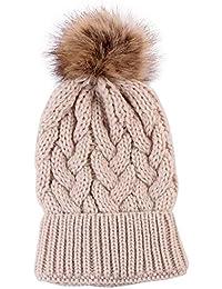 Amazon.es  pompones de lana - Verde   Gorros de punto   Sombreros y ... 4454ede57f76