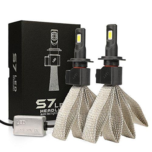 MiCarBa kit conversione LED lampadine faro auto, lampadina LED COB H7 6000K 6000lm 60W H/L faro LED doppio raggio alto basso Sostituisci lampadine alogene/HID (2pcs) (H7)