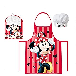 Disney Minnie Mouse Kids Apron and Hat Set 3 To 8 Years Polyester
