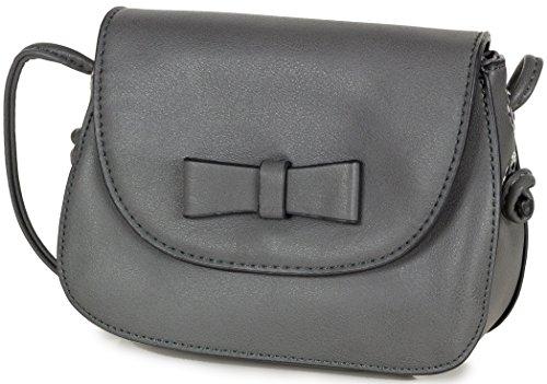 L&S Mini Handtasche zum umhängen Abendtasche graue Umhängetasche Kunstleder Tasche für Damen in Grau