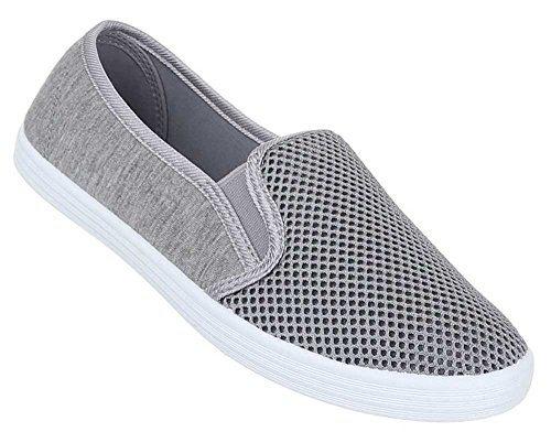 Damen Schuhe Slipper Halbschuhe Moderne Sommerschuhe Freizeitschuhe Grau