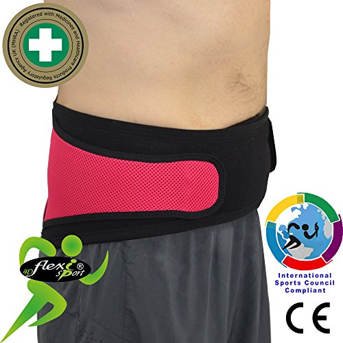 Lumbar Belt Hip & Lower Back Support - No Fixed Stays, Non Sweat - Superior Odourless, Rash-Free Alternative to Neoprene/Latex Products. Unisex. (Mittel) -