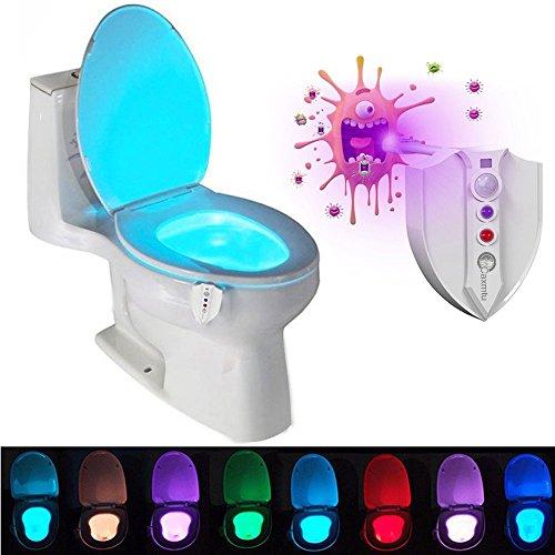Caxmtu LED-WC-Nachtlicht, in 8 Farben erhältlich, mit Bewegungsmelder, lichtempfindlich, batteriebetriebene Lampe