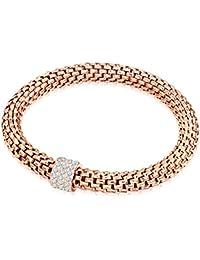 Rafaela Donata Damen-Armband Edelstahl Glas weiß - 6091700