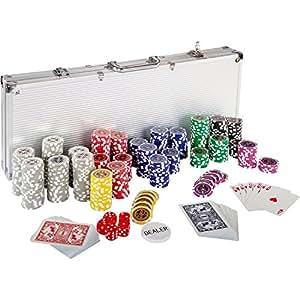 Mallette professionnelle de poker Coffret de poker ultime - 500 jetons laser 12 g avec insert en métal - 2 jeux de cartes - 5 dés - 1 bouton dealer - mallette en aluminium