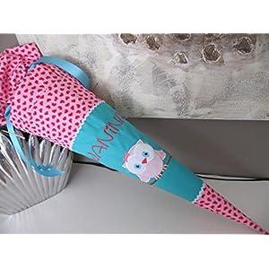 Eule Uhu türkis-rosa Schultüte Stoff + Papprohling + als Kissen verwendbar