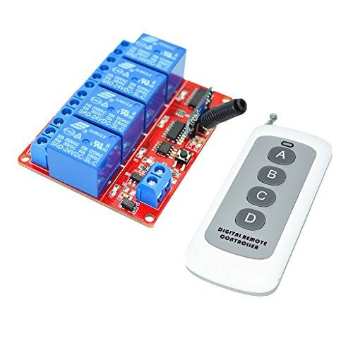 Homyl Wireless Switch Modul 24V Relais Modul mit 4 Tasten Fernbedienung für Leuchten, TV, Motoren, Lüfter, Kameras - Multi (Tv-multi-fernbedienung)