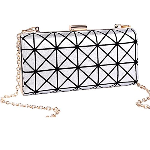 yaagle-women-girl-pu-leather-triangle-plaid-clutch-evening-bag-party-dinner-phone-chain