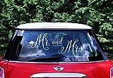 Wedding Hochzeit Autoaufkleber - Mr und Mrs, Weiß. Set enthält 3 Aufkleber in ca. Größen: Mr 21 x 26 cm, Mrs 31 x 21 cm, & 12 x 15 cm