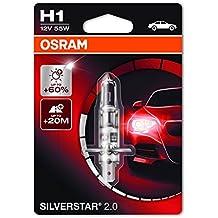 OSRAM SILVERSTAR 2.0 H1 Lampada alogena per proiettori 64150SV2-01B +60% mehr Licht - Blister singolo