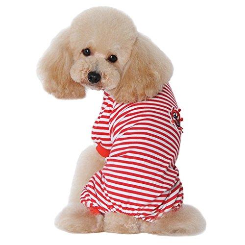 egendog Welpen Pyjamas Gestreifte Baumwolle Haustier Bekleidung vier Beine Kostüme für Hund und Katze L (Baumwolle Gestreifte Kostüme)