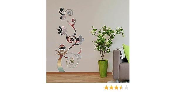 Walplus Fiore Ramo Specchio Wall Art Argento