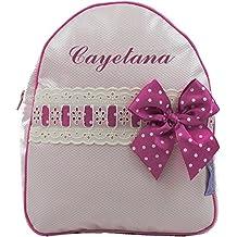 Mochila o Bolsa Infantil lencera Personalizada con Nombre en plastificado y pasacintas Beige
