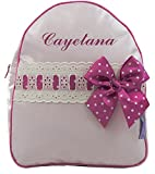 BORDAYMAS/ Babyrucksack Kindergartenrucksack Kindergartentasche Backpack mit Namen personalisiert in PINK Kunststoff und DETAILS beige MAGENTA