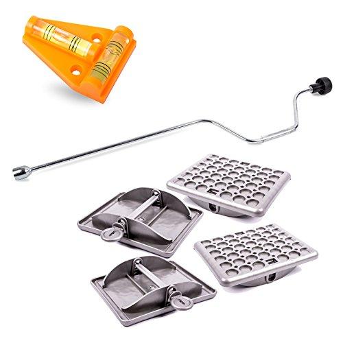 Hypercamp Maxi Foot Stützplatten Set - 4 Stück - zur Sicherung der Kurbelstütze inkl Handkurbel und Kreuz Wasserwaage für Wohnmobil oder Wohnwagen