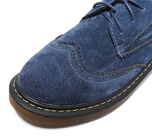 Smilun Lady's Full Brogue scarpe Derby Classic camoscio ballerine punta tonda Blue