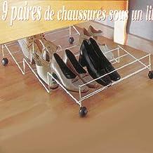 Zapatera para 9 pares de zapatos para guardar bajo la cama (acero, con ruedas)