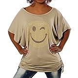 G307 Damen Longshirt Shirt Tunika Bluse Smiley Smily T-Shirt Tank Top Minikleid, Größen:Einheitsgröße, Farben:Beige