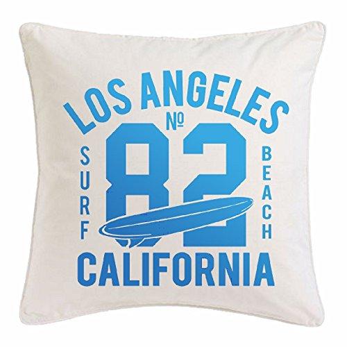 """funda de almohada 40x40cm """"Los Ángeles, California Surf Beach TABLAS DE SURF LAS ONDAS DE LONGBOARD Beginner Shop"""" Microfibra en color Blanco"""