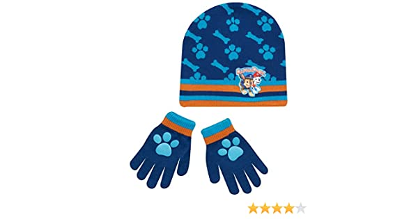 bd32b55c45f Boys Paw Patrol Chase Childrens Winter Beanie Hat   Gloves Official Set   Amazon.co.uk  Clothing