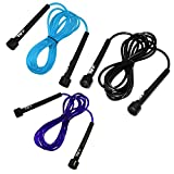 JLL® Skipping Rope 3m /10ft ADJUSTABLE Fitness Speed rope Jump Boxing Exercise Gym Jumping Workout (Black)