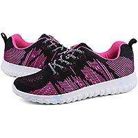 Mujeres Adolescentes Colorido con Cordones Zapatos Malla Transpirable Superior Amortiguador de Aire Zapatos de Viajes Al