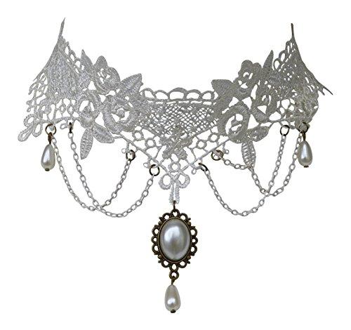 Trachtenschmuck Burlesque Kropfband Collier - Spitze weiß - Perlen und Anhänger