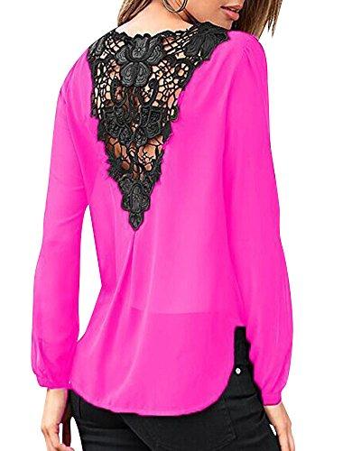 Camicia Donna Collo A V Maniche Lunghe Camisetta Bluse Basic Causal Allentato Colore Solido Top Pink