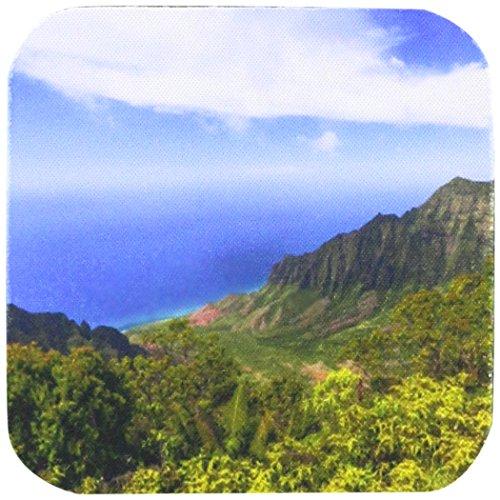 Danita Delimont–Hawaii–Die Kalalau Valley übersehen, die auf der Hawaii Insel Kauai–Untersetzer, Gummi, set-of-4-Soft (Küsten-dekor-tischsets)