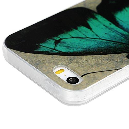 iPhone 5 Hülle,iPhone SE Case YOKIRIN 2X TPU Silikon Handytasche Schutzhülle Handyhülle IMD Craft Durchsichtig Silikonhülle Backcase Handycover Tasche mit Kapazitive Feder und Staubstecker Muster:Groß Color-8
