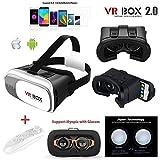 VR Box 2.03d VR Lunettes, 3d VR casque Boîte de réalité virtuelle avec lentille réglable et sangle pour iPhone SE 55S 6S Plus 7Plus Samsung Galaxy S34567Note Edge Plus, 8,9- 15,2cm pouce Smartphone pour des films en 3d et des Jeux...